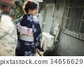 街中を歩く浴衣の女性 34656629