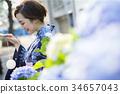 Yukata的妇女享用水气球的 34657043