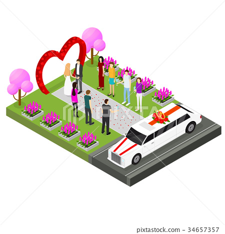 Wedding Ceremony Place Isometric View. Vector 34657357
