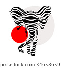 Abstract silhouettes of Elephant 34658659