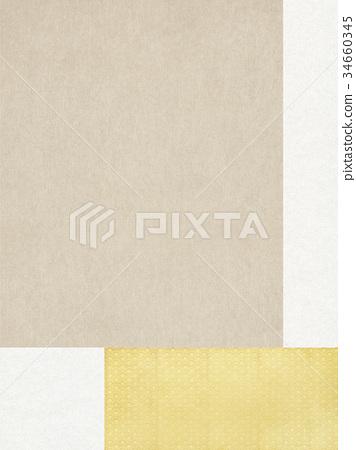 日本纸 - 日本图案 - 背景 - 金箔 34660345