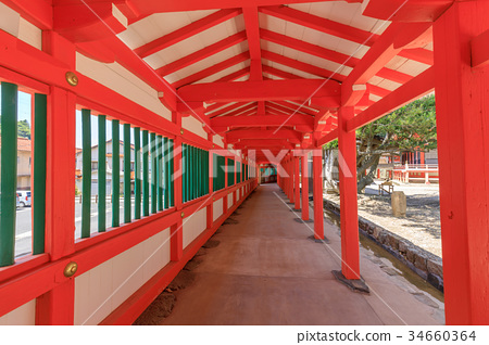 Nichiomisaki神社走廊以绿色和绿色绘 34660364