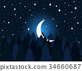 moon, night, vector 34660687