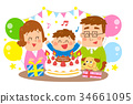 웃는 얼굴, 미소, 케이크 34661095