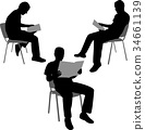 man reading newspaper silhouettes 34661139
