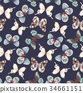 蝴蝶 多彩 無縫的 34661151
