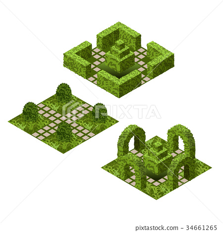 Garden isometric tile set with topiary bushes 34661265