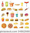 Vector Fast food icons isolated burgers sandwiches 34662666