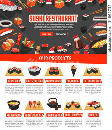 Vector menu for Japanese sushi food 34662752