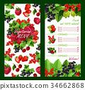 Vector price list for fresh garden berries market 34662868