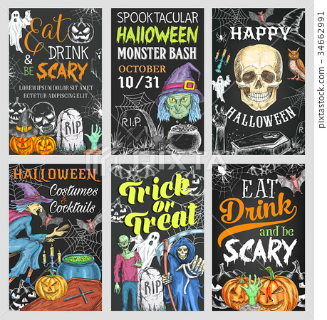 Halloween holiday trick or treat party banner 34662991