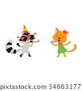 vector flat animals party set isolated 34663177