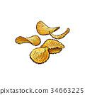 Hand drawn rifled potato chips vector illustration 34663225