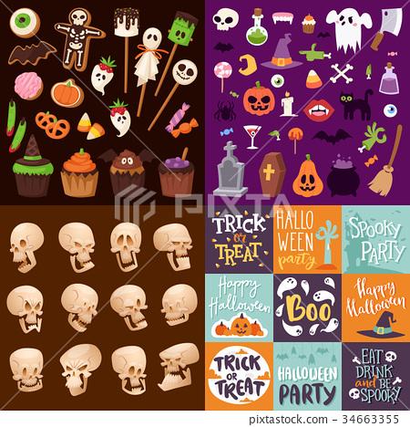 Halloween Night creepy symbols icons vector 34663355
