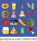 vector, oktoberfest, icon 34663383
