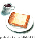 Yamagata bread cheese toast and coffee drawn by watercolor 34663433