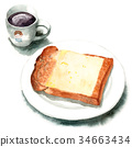 Yamagata bread cheese toast and coffee drawn by watercolor 34663434