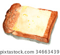 Yamagata bread cheese toast drawn by watercolor 34663439