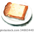 Yamagata bread cheese toast drawn by watercolor 34663440