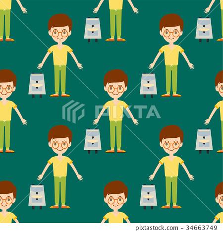 Young kid portrait seamless pattern friendship man 34663749