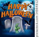 Happy Halloween Monster Zombie Cartoon Sign 34664812