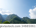 Mountains and high voltage post with sunshine 34665061