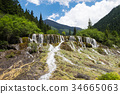 Marvelous flying waterfall during summer season 34665063