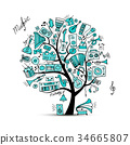 Music instruments tree, sketch for your design 34665807