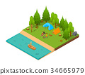 Camping Isometric View. Vector 34665979