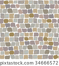 Paving Stones Road Texture seamless pattern. wall of stone, cobbled street 34666572