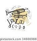 Jazz club logo design, vintage music label with 34666988