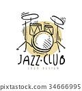 Jazz club logo design, vintage music label with 34666995
