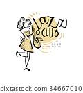 Jazz club logo, vintage music label with woman 34667010