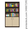 Library book shelf. Bookcase with different books. 34667295