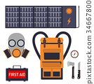 Survival emergency kit for evacuation vector 34667800