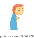 Sick boy character with flu wrapped in a blanket 34667970