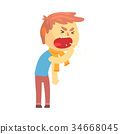 Sick boy character coughing with fist in front of 34668045