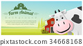 Rural landscape and Farm animal with cow 34668168