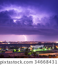 Storm with lightning in the city 34668431