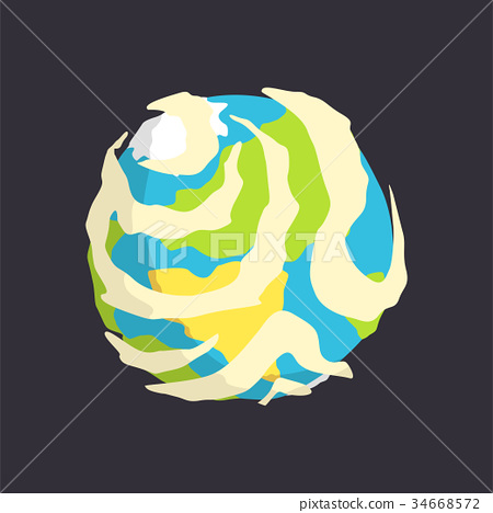 Earth planet, view from space cartoon vector 34668572