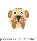 Cute schnauzer dog head, funny cartoon animal 34668623