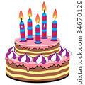 生日 蛋糕 蜡烛 34670129