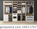 minimal  walk in closet with wood wardrobe 34671707