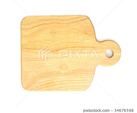 The Wooden cutting board on white background 34676598