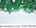 Pine leaf with star and christmast decoration on 34676648