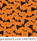 Seamless Halloween vector grunge pattern with bats 34678351