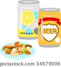 罐装酒和混合坚果 34679006