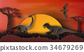 Paper art of Dinosaur in forest with sunset 34679269