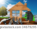 Home Improvement Concept - Work Tools and House 34679295