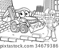 Construction Building Site Scene Coloring 34679386